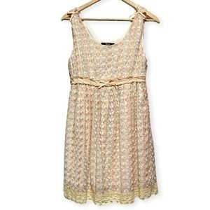 ModCloth Pink & Cream Daisy Embroidered Dress, S